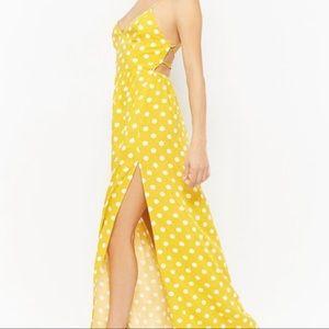 F21 Polka Dot Lace-Up Maxi Dress